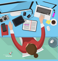 Flat design office workspace template vector