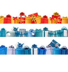 Collection of holiday banners with colorful gift vector