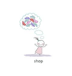 A girl in a shoe shop vector image