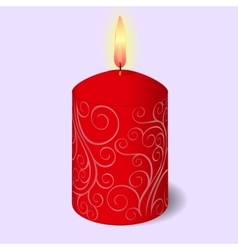 Isolated burning candle with ornament on blue vector image