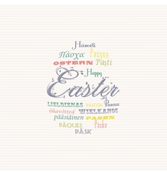 Easter typography multi language background vector