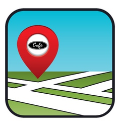 Street map icon with the pointer cafe vector image