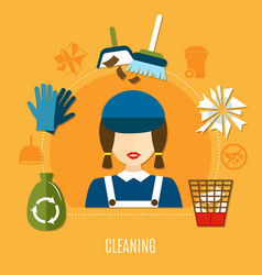 cleaning company circle composition vector image
