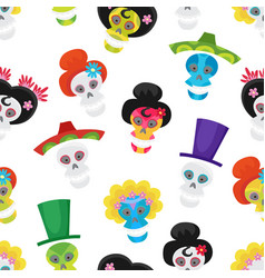 Seamless pattern with colorful skulls for day of vector