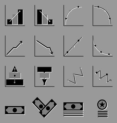 Graph and money icons on gray background vector