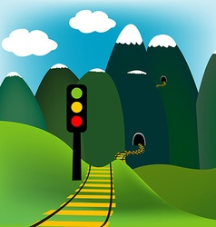 Mountain landscape with railway vector