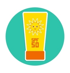 Sunscreen spf 50 the yellow tube on blue vector