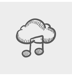 Cloud melody sketch icon vector