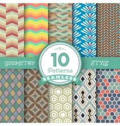 Set of 10 seamless geometric lines pattern vector
