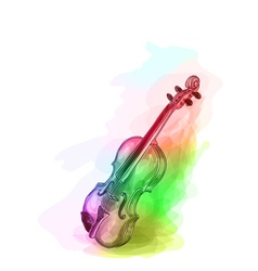 Violin in iridescen colours vector
