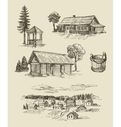 Farm and vintage hand drawn vector