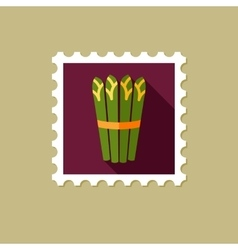 Asparagus flat stamp with long shadow vector