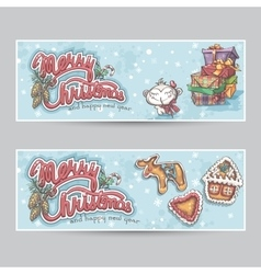 Merry christmas greeting card horizontal banners vector