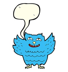 cartoon happy owl with speech bubble vector image