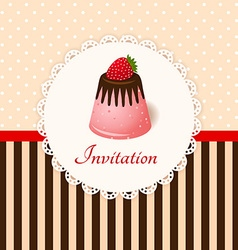 Vintage invitation card with strawberry chocolate vector