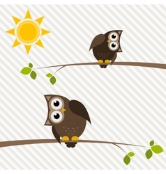 brown owl and owlet on the tree vector image