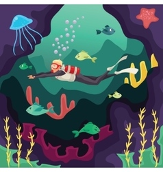 Scuba diver swimming under water vector