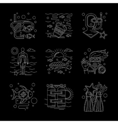 Detailed white line scuba diving icons set vector