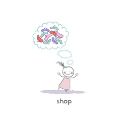 A girl in a shoe shop vector image