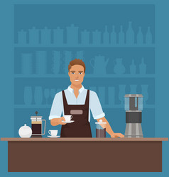 a smiling young man barista preparing coffee with vector image vector image