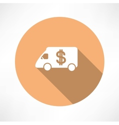 Car with money icon vector