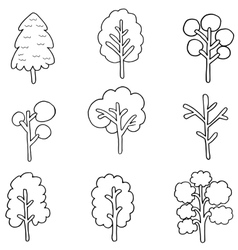 Collection of tree hand draw vector