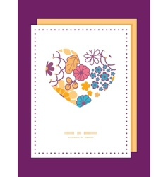 Colorful oriental flowers heart symbol vector