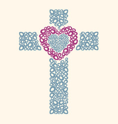 Cross and heart vector