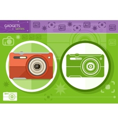 Digital camera in frame on green background vector image vector image