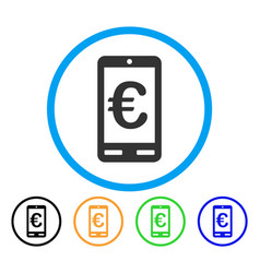 euro mobile bank rounded icon vector image vector image