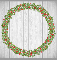 festive holiday wreath on a rustic wooden vector image vector image