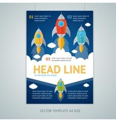 flying rocket brochure flyer design vector image