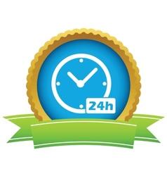Gold clock logo vector