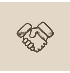 Handshake sketch icon vector