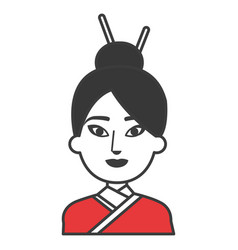 japanese woman avatar character vector image vector image