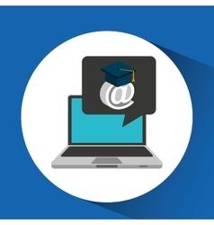 Learn online school email graduation vector