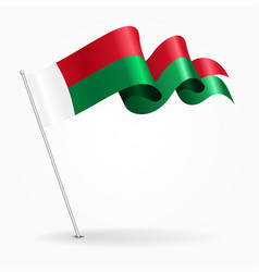 Madagascar pin wavy flag vector