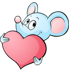 mouse cartoon hold heart isolated on white vector image
