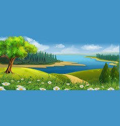 Nature landscape stream valley background vector image vector image