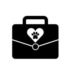 Portfolio with paw animal icon vector