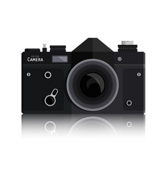 retro photo black camera isolated on white vector image