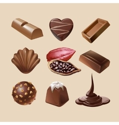 Set icons of chocolate vector image vector image