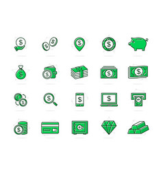 set of bank and money colored line icons vector image vector image