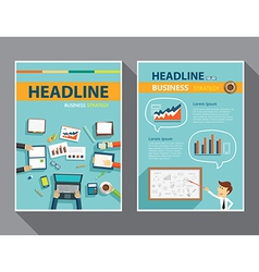Set of magazine cover flyer brochure flat design vector