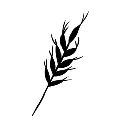 Silhouette monochrome with wheat branch vector