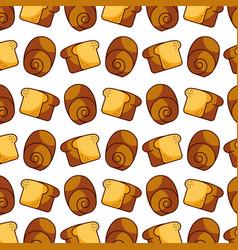 slice bread bun bakery kitchen seamless pattern vector image