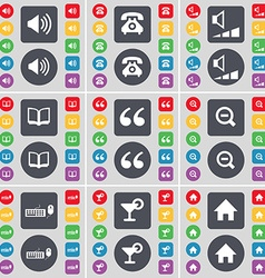 Sound retro phone volume book quotation mark vector