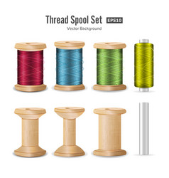 Thread spool set bright plastic and wooden bobbin vector