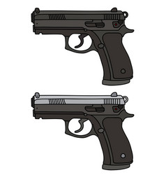 Two automatic handguns vector
