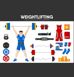weightlifting sport gym equipment weightlifter man vector image vector image